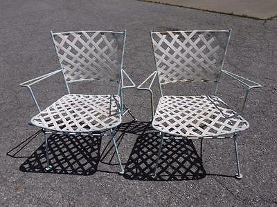 2 Vintage Russell Woodard Brown Jordan Era Mid Century Steel Patio Arm Chairs