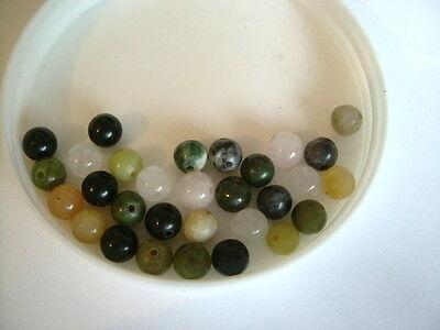 30pcs x 6mm Mixed Gemstone Round Beads