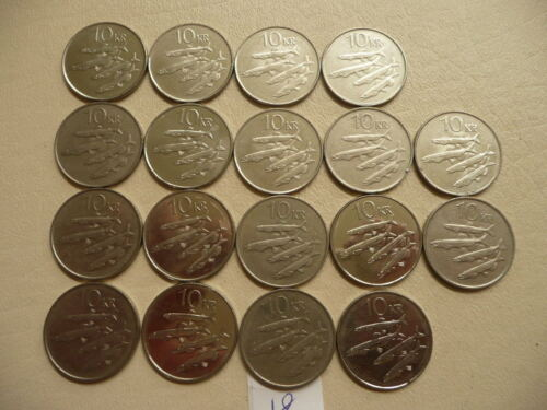Lot of 18 Ten Kronur Animal Coins of Iceland
