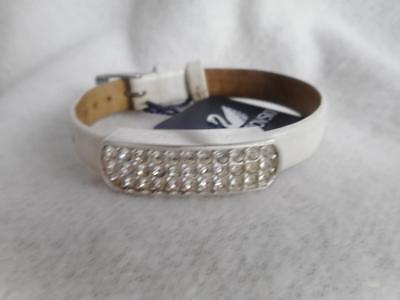 Swarovski White Leather - NWT Swarovski swan white crystal & white leather 7/16