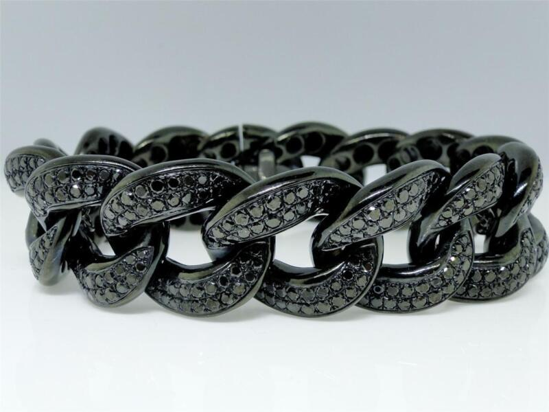 Mens 21 MM XXL Black on Black Diamond Miami Cuban Diamond Bracelet 19.61 Ct