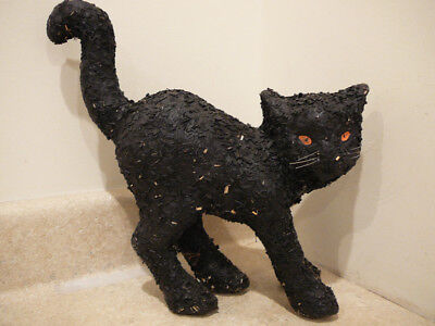 VINTAGE HALLOWEEN PAPIER MACHE BLACK CAT CANDY CONTAINER LARGE RAISED TAIL