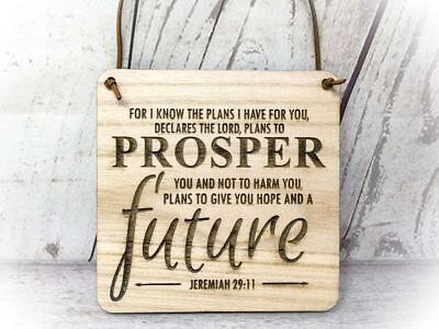Jeremiah 29:11 - Hope and Prosper - Engraved Wooden Plaque - Bible Holy Religion