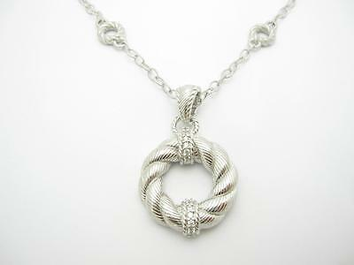Judith Ripka Sterling Silver Love Knot Design Necklace with Twisted Cable design