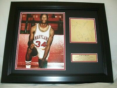Len Bias Autographed Cut Reprint 8x10 Photo Maryland Terps Framed