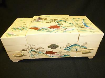 Large Vintage Hand Painted ASIAN JEWELRY BOX Chest MUSICAL Japan Music Box