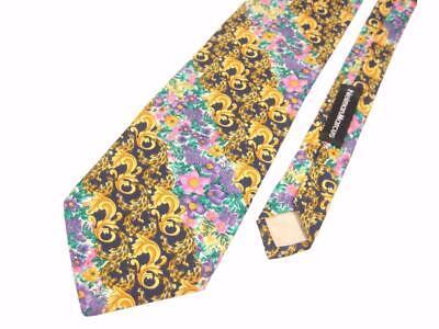 1990s vtg GIANNI VERSACE BAROQUE & FLORAL PRINT SILK NECK TIE Necktie