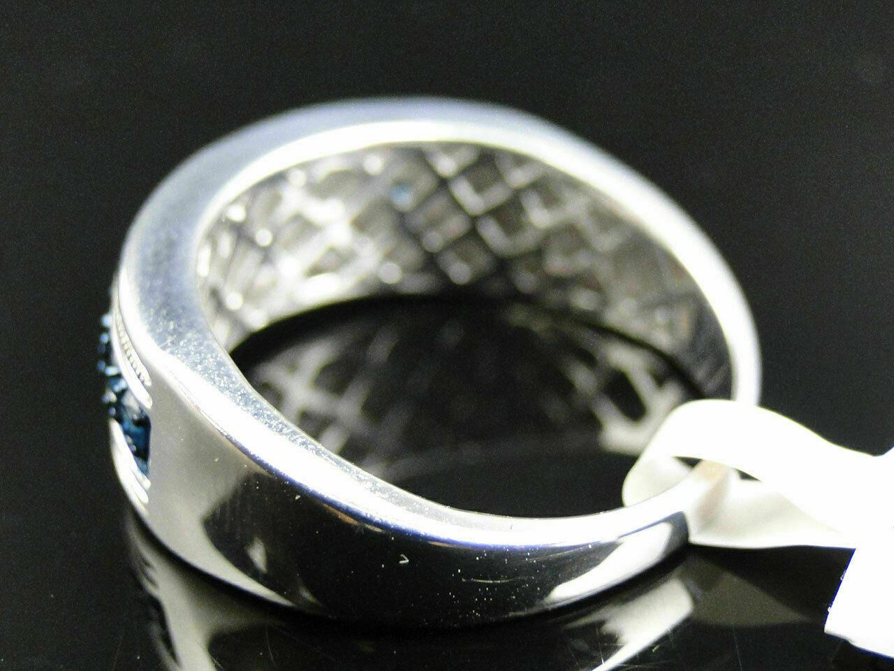 1 Ct Round Cut Blue Diamond Wedding Engagement Mens Band Ring 14K White Gold Fn 3