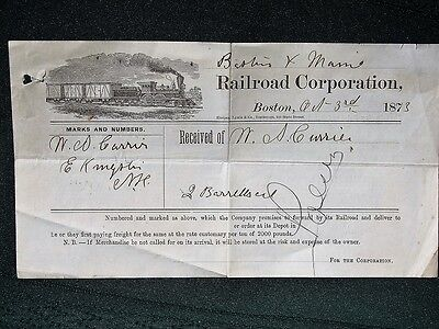 Boston & Maine Railroad Corp orig 1873 Freight Receipt w Locomotive Graphic