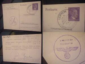 Orig. Postkarte 2.WK Riedheim Langenau Leipheim WWII 3.Reich Briefmarke Karte
