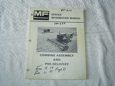 Massey Ferguson Mf 540 550 Combines Assembly Pre-delivery Service Info Manual