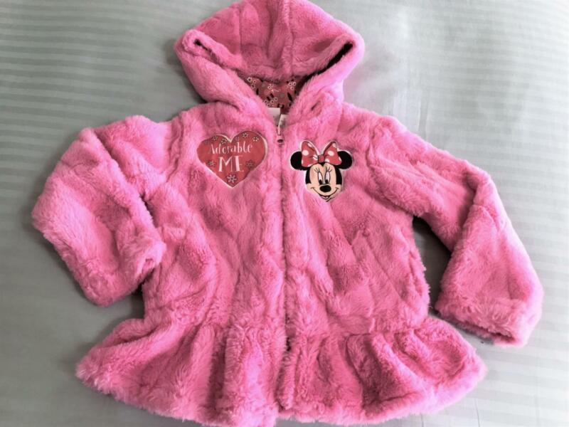 Darling Soft Fuzzy Furry Toddler Girls Hoodie Jacket ~ Minnie Mouse ~ Size 3T