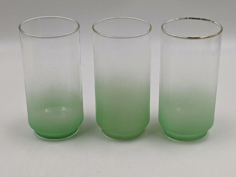 Three Midcentury Libbey West Virginia Blendo Drinking Glass Tumbler Green Mint