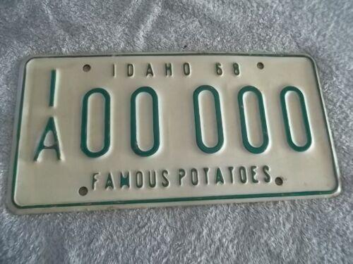Idaho Sample License plate 1968 original automobile