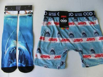 JAWS Shark Socks & Boxer Briefs 2 PC Underwear Set 70s Movie Classic Ocean Swim
