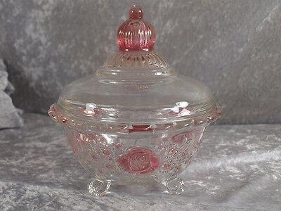 Hütte Kristallglas Bonboniere auf Fuss Deckelschale 19 cm Rosalin 70er 80er
