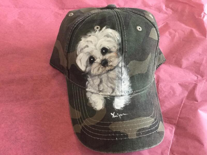 MALTESE HAND PAINTED  CAMO CAP HAT