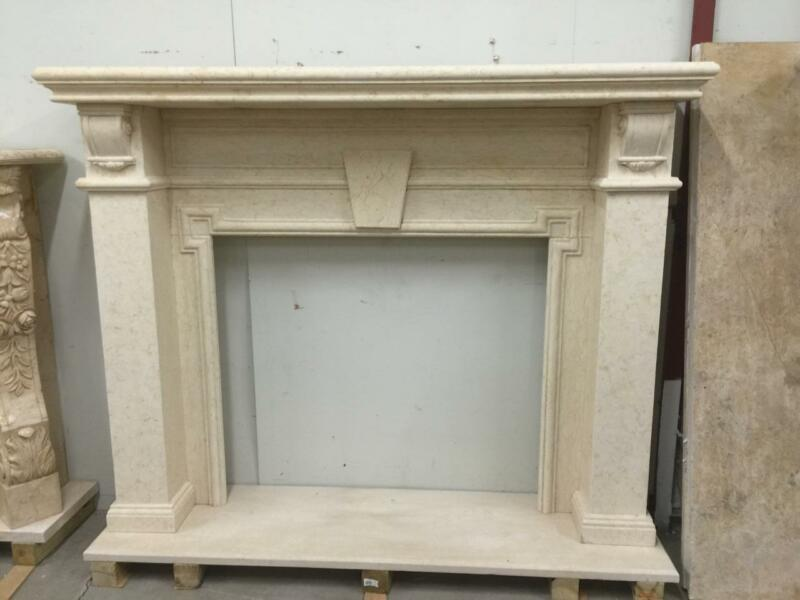 BEAUTIFUL HAND CARVED SOLID MARBLE FIREPLACE MANTEL  - JD809
