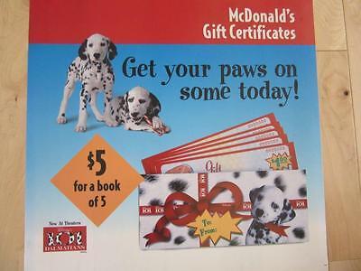 Mcdonalds 1996 Menu Board Translite 21  Wall Decor 101 Dalmations Get Your Paws