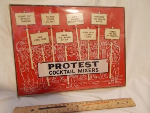 Protest swizzle sticks Vintage New Novelty NIB Barware Rare Cocktail Mixers 1969