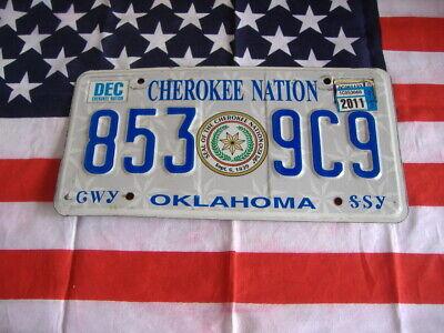 US OKLAHOMA 853 9C9 CHEROKEE NATION AUTO CAR KENNZEICHEN NUMMERNSCHILD PLATE USA