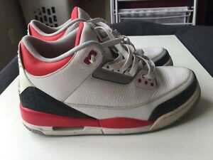 Nike Air Jordan 3 Retro Fire Red/White Size 10US
