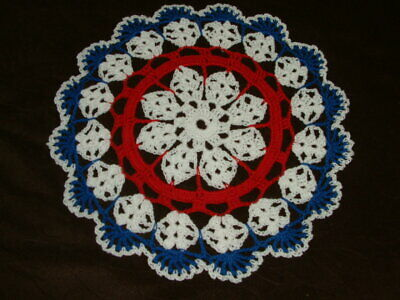 New Hand Crocheted Doily - white red and dark -