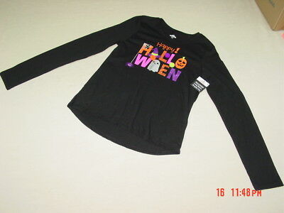 NWT Girls Happy Halloween Graphic Long sleeve pullover shirt Glitter Pom Pom](Glitter Graphics Halloween)