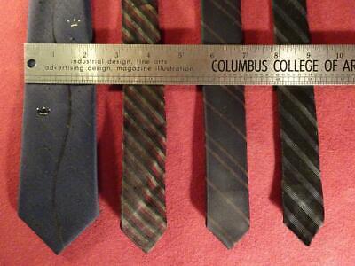 1950s Men's Ties, Bow Ties – Vintage, Skinny, Knit 4 VINTAGE 1950s 60s ROCKABILLY SKINNY NECK TIES 1