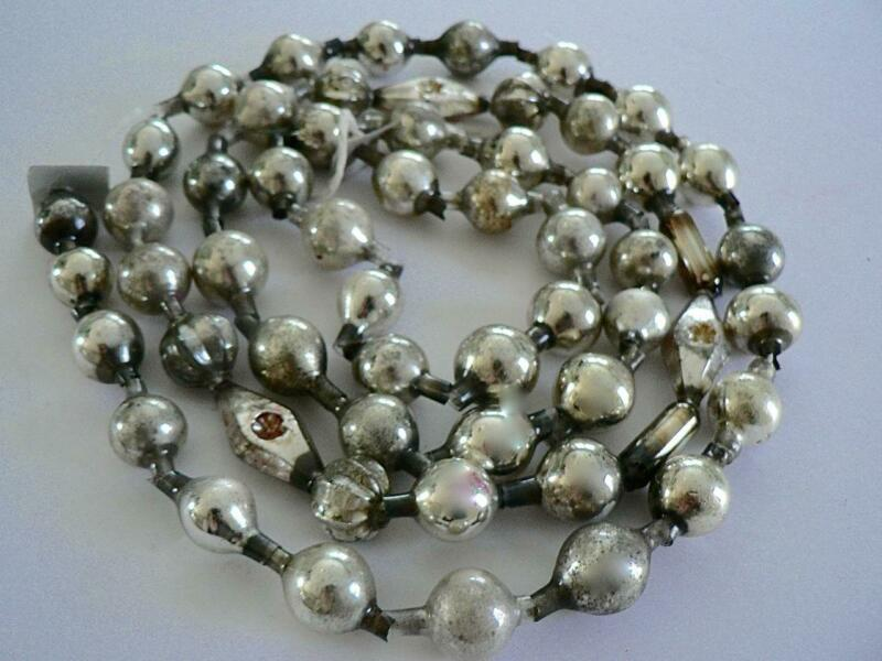 "50"" ANTIQUE GERMANY VINTAGE SILVER CHRISTMAS BALL SMALL BEAD GARLAND"
