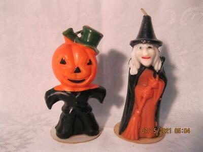 2 Vintage Gurley Halloween Candles - Witch & Jack o Lantern Head Man Very Nice