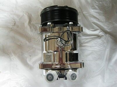 NEW Chrome 508 Serpentine Air Conditioning AC Compressor