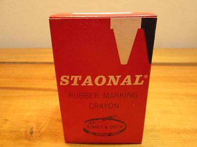1 Box Of 12 Vintage Staonal Yellow Rubber Marking (Rubber Marking Crayons)