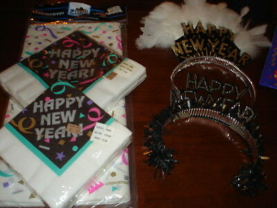 Lot of great New Years Decorations - table cloth, napkins, streamers, gift bags+](New Years Decorations)