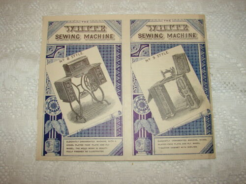 1879 WHITE SEWING MACHINE Advertisement Styles No. 8 & 9 Cleveland, Oh