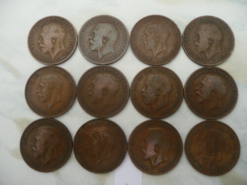 Lot of 12 King George V One Penny Coins of England - Lot 1