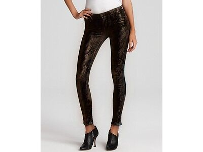 (Womens Metallic Print Super Skinny Jeans with Pockets Black Gold 26x30 NWT)