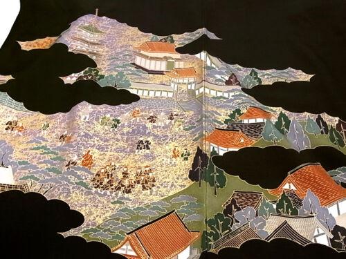 "JAPANESE KIMONO FABRIC 42""_Silk,Black,Gold,Jidai-emaki,#e759-b"
