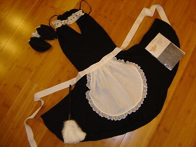 French Maid Duster (French maid costume black halter dress sz S woman's apron duster)