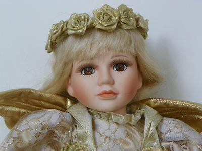 Vintage~Porcelain Angel Doll~Celestine~16 Inches Tall~Golden Beauty