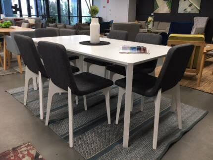 Modern Wooden Dining Table WHITE 6 Fabric Chairs