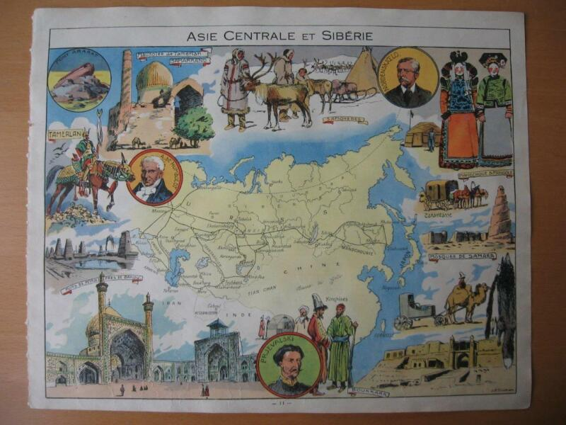 1948 - PINCHON - Illustrated historical map CHINA RUSSIA TARTARY CENTRAL ASIA