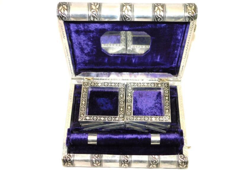 India Elephants Handmade Jewelry Trinket Box Silver Tone Aluminum Purple Velvet