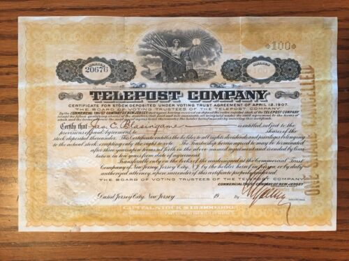 Telepost Company Stock Certificate Telegraph 1907 Stamp Seal 1911 Date 1913 Sign