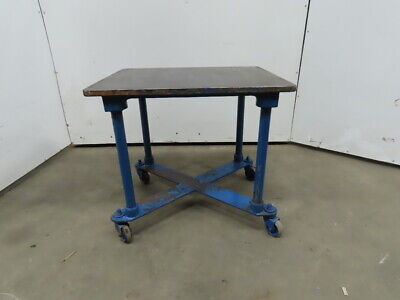 1 Thick Cast Iron Top 24x30-34x28-12 Welding Table Work Bench Wcasters