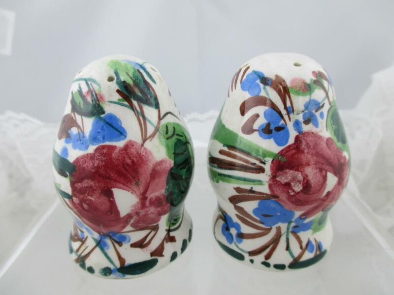 Vintage Decorative Hand Painted Pottery Salt & Pepper Shakers~Signed