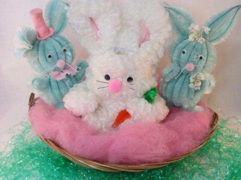 *Large Vintage Chenille Plush Easter Rabbits Set of 3 in Basket - Store Display