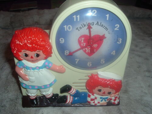Working Collectible Raggedy Ann Andy Janex Wind-Up Talking Alarm Clock.Tic/Talks