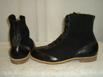 Vintage Curling Boots Black Felt & Leather Mens Size 12 FREE SHIPPING WITHIN USA