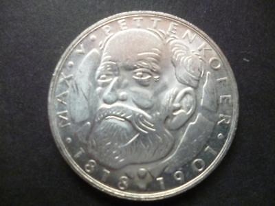 Germany 1968 5 Deutsche Mark silver coin 0.625 near mint birth of Pettenkofer.